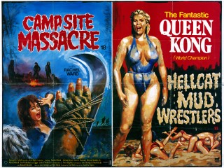 Campsite Massacre 1983 Hellcat Mud Wrestlers 1983 Double Bill Quad Poster