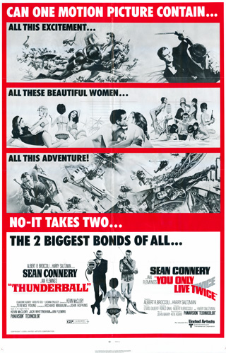 Thunderball 1965 You Only Live Twice 1967 1 Sheet rr1971